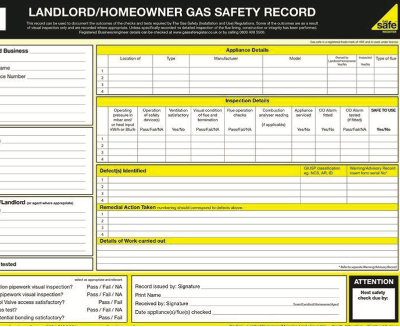 A Gas Safety Register certificate.