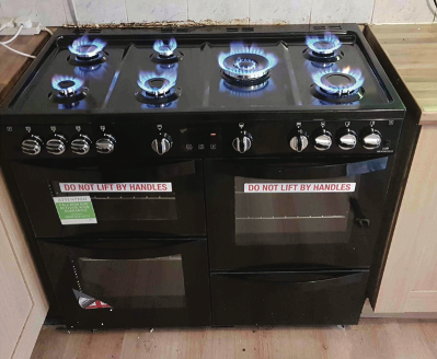 A newly installed gas range