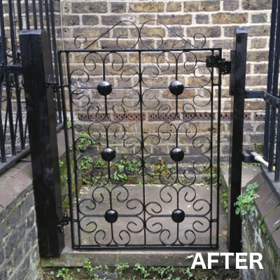 A fixed gate, after woodwork repair